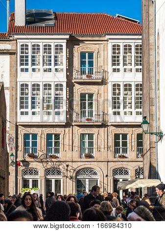 Santiago de Compostela Spain - December 14 2013 - View of the facades in front of the Abastos Market in Santiago de Compostela