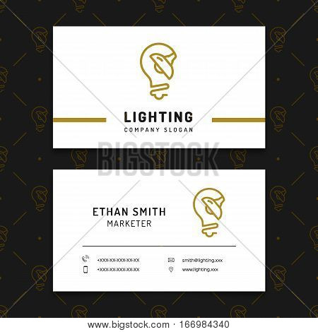 Lighting business card template, lamp shop layout, electricals factory, lamps manufacturing. Brand identity graphics, business concept. Vector isolated icons