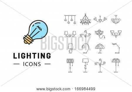 Lamp icon set, lighting store flat design. Thin line symbols chandelier, lampshade, decorative lightings, wall lamp. Brand identity graphics, business concept. Vector isolated black icons