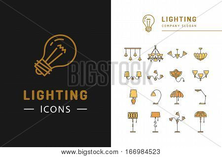 Lighting icon set, lamps symbols flat design. Thin line badges chandelier, lampshade, decorative lightings, wall lamp. Brand identity graphics, business concept. Vector colorful icons