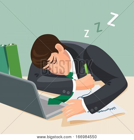 Tired man sleeping at desk. Businessman in suit fall asleep at the working place. Young male sleep near notebook with a sheet of paper and pencil in his hand at table. Realistic vector illustration