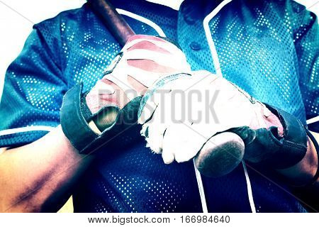Baseball Batter Wearing Gloves