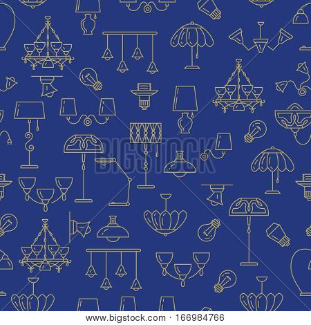 Lamp icon, lighting seamless pattern. Brand identity graphics, business concept for lighting store. Chandelier, lampshade, lightbulb. Golden symbols blue background, Vector isolated illustration