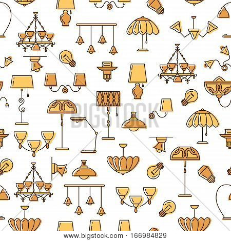 Lamp icon, lighting seamless pattern. Brand identity graphics, business concept for lighting store. Colorful thin line symbols chandelier, lampshade, lightbulb. Vector illustration