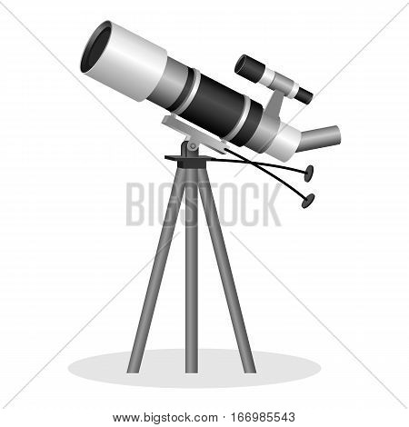 Telescope to observe the stars realistic vector illustration. Optical instrument that aids in observation of remote astronomical objects. Binocular instrument for observation objects in the sky
