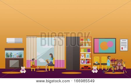 Vector illustration of volunteers helping little kids living in orphanage during holiday seasons - give gifts, read fairy tales. Voluntary organizations services concept design element in flat style.