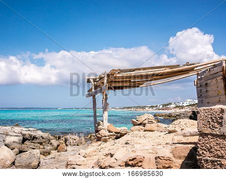Typical constructions for fishermans in Formentera island Spain