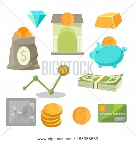 Asset money investment icons set isolated on white. Business icons of diamonds, bar of gold, piggy, safe coins heaps near credit cards, bag of money, banking buiding and finncinal chart vector
