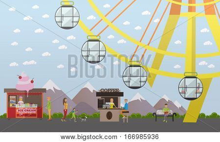 Vector illustration of amusement park concept design element with ferris wheel attraction, ice cream and coffee stalls, salesgirls and buyers, walking people. Cartoon characters, flat style.