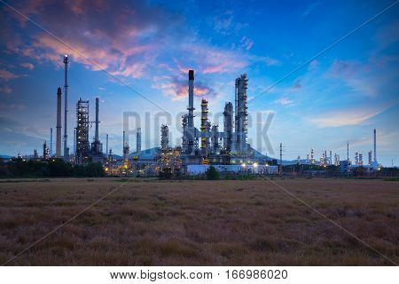Oil refinery industry at sunrise Oil refiner Industry background concept