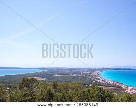 View of the Formentera island shape, Spain