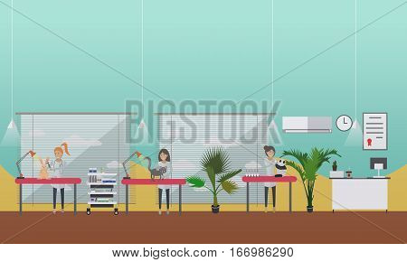 Vector illustration of vets man and woman inspecting domestic animals dog, cat and bunny. Vet clinic services, medical inspection concept design element in flat style.