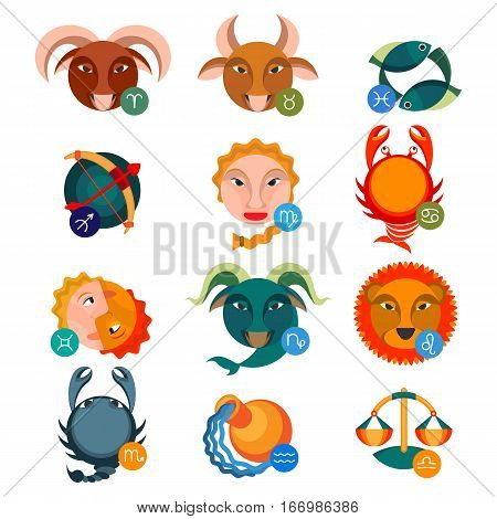 Set of colorful astrology signs. Water signs cancer with scorpio and pisces, fire aries near leo and sagittarius, earth signs are taurus, virgo and capricorn, air gemini, libra and aquarius vector