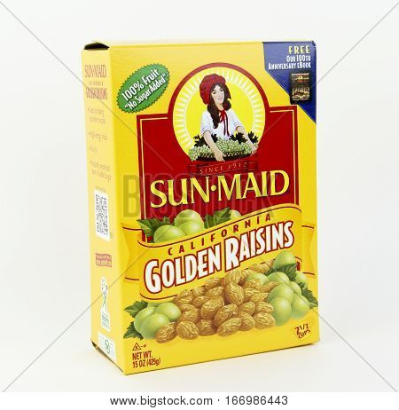 Spencer Wisconsin January222016 Box of Sun Maid Golden raisins Sun Maid is the largest producer of raisins and dried fruit in the world and was founded in 1912