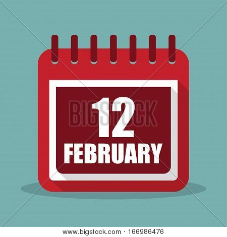 Calendar with 12 february in a flat design. Vector illustration