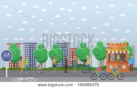 Vector illustration of people doing interview in the street. The news reporter, journalist, anchorman, videographer characters. Mass media jobs, TV broadcast concept design element in flat style.
