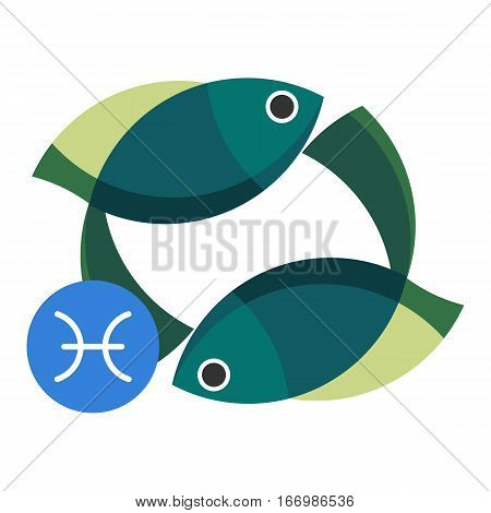 Pisces astrology sign isolated on white. Horoscope symbol represented as two fish, swimming in different directions. Zodiac constellations astrological mythology icon vector design illustration