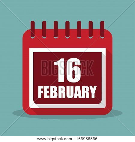 Calendar with 16 february in a flat design. Vector illustration