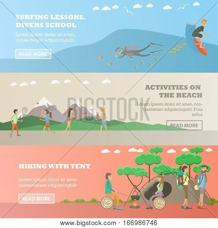 Vector set of water sports, summer outdoor activity concept horizontal banners. Surfing lessons, divers school, Activities on the beach, Hiking with tent design elements in flat style.