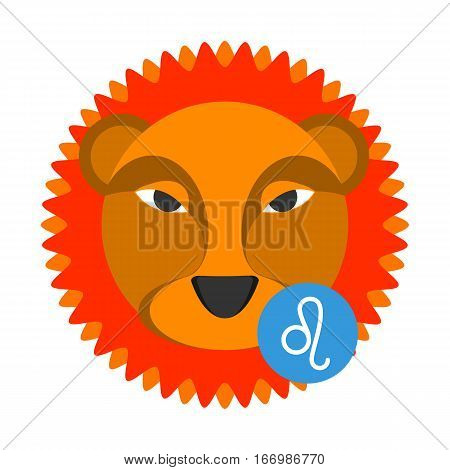 Leo astrology sign isolated on white. Horoscope symbol represented as Nemean lion with impenetrable hide. Zodiac constellations astrological mythology icon vector design illustration in cartoon style