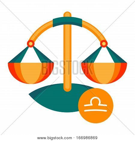 Libra astrology sign isolated on white background. Horoscope symbol represented as weighing scales. Zodiac constellations astrological mythology icon vector design illustration in cartoon style