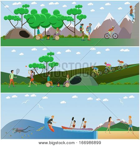 Vector set of summer outdoor activities concept posters, banners. Camping, climbing up the rock, surfing, diving, kayaking, playing frisbee and badminton, riding bicycle. Flat style design.