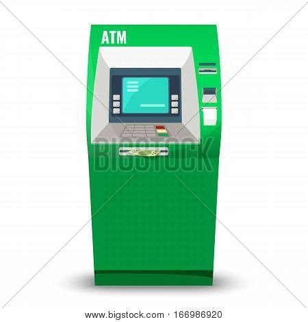 Atm machine isolated on white background. Automatic teller machine, automated banking machine cash machine or cashpoint, cashline minibank, or bankomat electronic telecommunications device vector