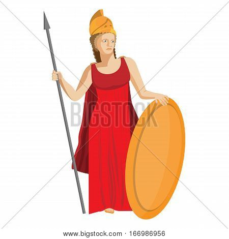 Mythological Greek Athena holding a spear and shield in red dress and golden helmet. Ancient goddess of wisdom, craft, and war. Religion and mythology concept vector illustration in flat style