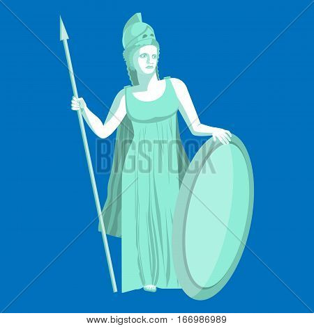 Athena or Athene marble statue on blue background. Pallas goddess of wisdom, craft, and war in ancient Greek religion and mythology. Minerva Roman goddess identified with Athena. Vector illustration