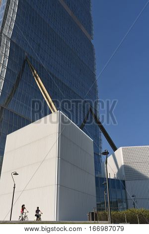 MILAN, ITALY - AUGUST 27, 2016: Milan (Lombardy Italy): skyscraper at Citylife known as Allianz building one of the Three Towers