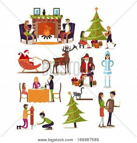 Vector set of fairy tale characters, people, home interior design elements isolated on white background. New Year and Christmas time concept symbols, icons in flat style.