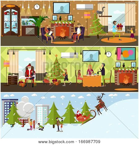 Vector set of banners with New Years Eve celebration, holiday home interior, winter cityscape design elements. Cartoon characters. Christmas time, New Year, family traditions concept in flat style.