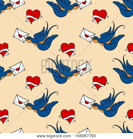 vector seamless pattern with swallow birds and hearts, made in old school tattoo style. Valentines day or wedding design.