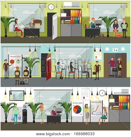 Vector set of office interior and business people concept posters, banners in flat style. Manager, office workers at workplace, presentation, conference, water delivery service design elements.