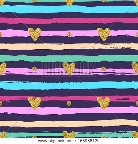 Gold hearts seamless pattern, hand-drawn colorful stripes brush and ink. Trendy valentines background, love backdrop, marine theme. Vector illustration