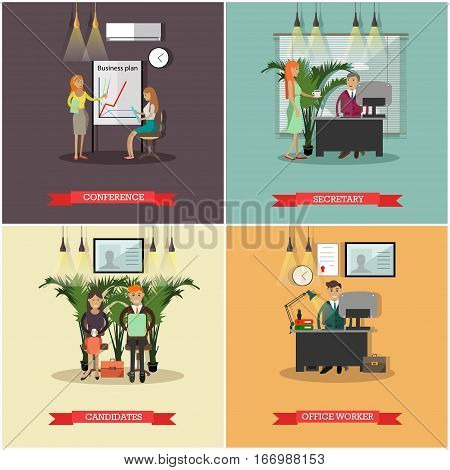 Vector set of business people concept posters, banners. Conference, Secretary, Candidates, Office worker design elements in flat style.