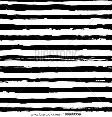 Striped seamless pattern, hand-drawn black stripes brush and ink. Trendy marine style, frock, singlet. Fashion geometric background. Vector illustration