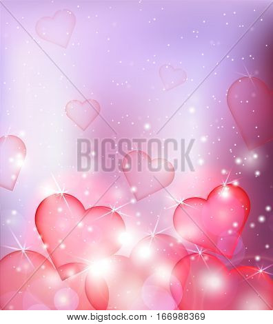 Vector blur background with hearts and sparks. Background for your creativity