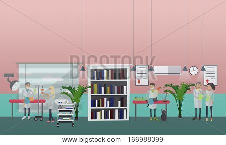 Vector illustration of veterinary surgeons performing a surgical operation on cat, assisting in kitten birth. Vet clinic services, surgery concept design element in flat style.