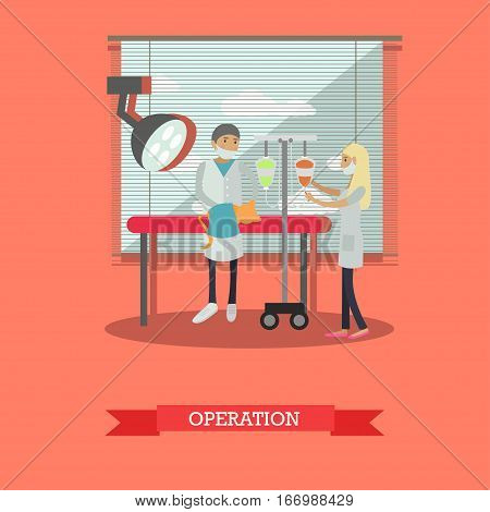 Vector illustration of veterinary surgeon performing a surgical operation on a cat. Vet clinic services concept design element in flat style.