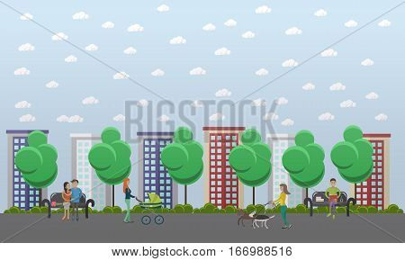 Walk in the park concept vector illustration. People walking dogs, sitting on bench, walking with baby. Flat style design.
