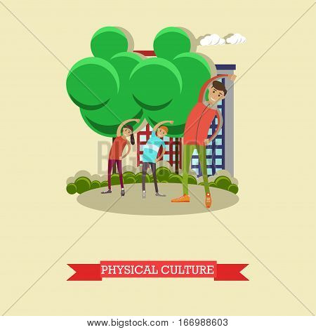Vector illustration of instructor with exercising schoolboys. Sports ground, playground. Physical education lesson concept design element in flat style.