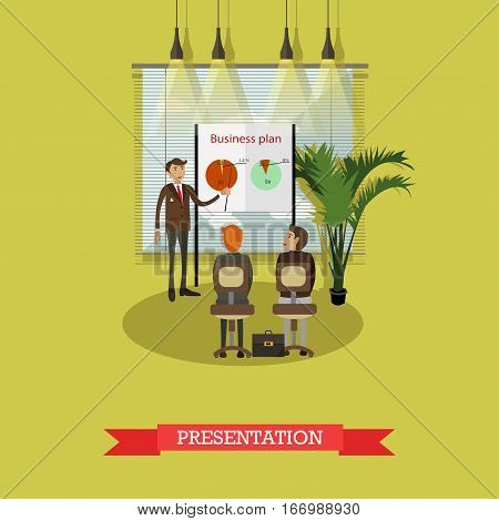 Presentation concept vector illustration in flat style. Business man pointing at diagram on flipchart or whiteboard making presentation of business plan.