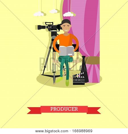 Vector illustration of producer reading screenplay. Record producer, production director character. Digital video camera on the tripod. Cinematography concept design element in flat style.