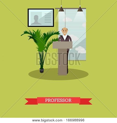 Vector illustration of university professor, senior man. Lecture, seminar. Higher education concept design element in flat style.
