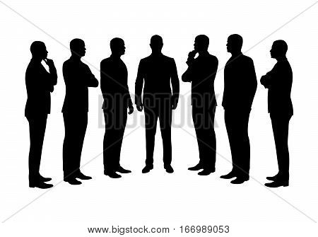 Business men set of vector silhouettes. People at work