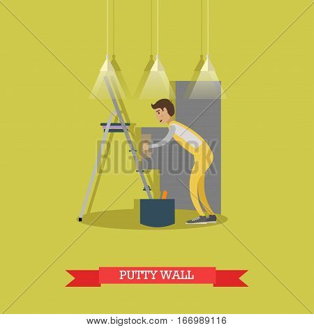 Vector illustration of worker puttying wall. Plasterer profession, building and repairing a house concept vector illustration in flat style.