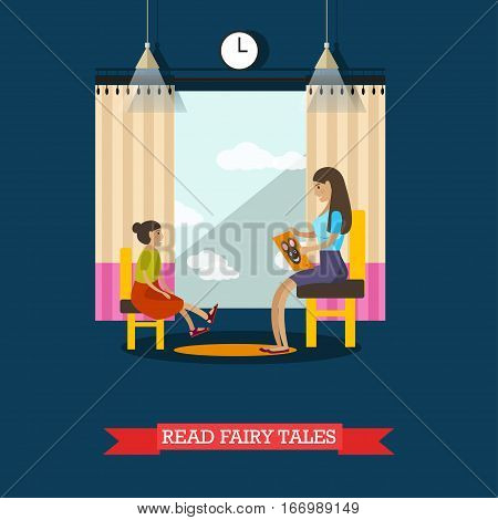 Vector illustration of volunteer young woman reading fairy tales for little girl living in orphanage. Voluntary organizations services concept design element in flat style.