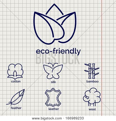 Eco-friendly fabric feature vector icons. Line icons of cotton wool silkleather and feather