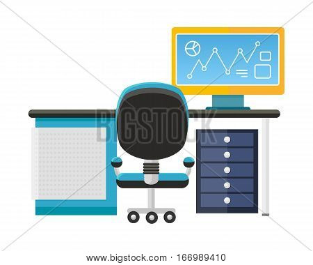 Modern office interior with desktop in flat design. Interior office room. Modern office room. Office space. illustration of office. Working place in modern office interior